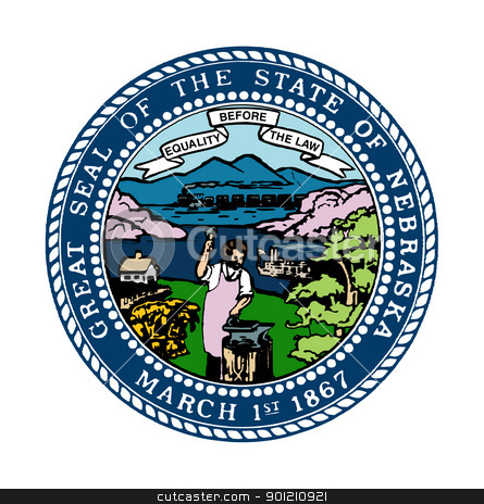Nebraska state seal stock photo, Seal of American state of Nebraska; isolated on whiite background. by Martin Crowdy