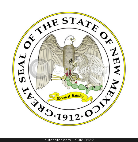 New Mexico State seal stock photo, Seal of American state of New Mexico; isolated on whiite background. by Martin Crowdy