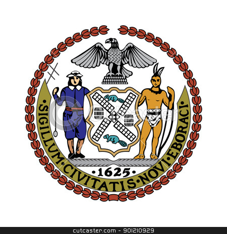 City of New York Seal stock photo, Seal of American city of New York; isolated on whiite background. by Martin Crowdy