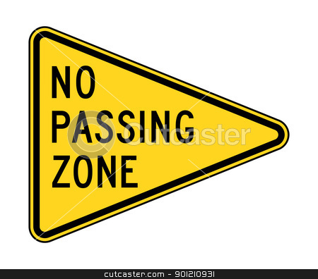 No passing zone sign stock photo, American no passing zone sign; isolated on white background. by Martin Crowdy
