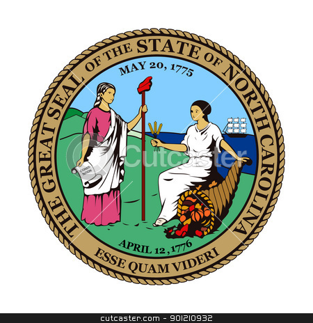 North Carolina state seal stock photo, Seal of American state of North Carolina; isolated on whiite background. by Martin Crowdy
