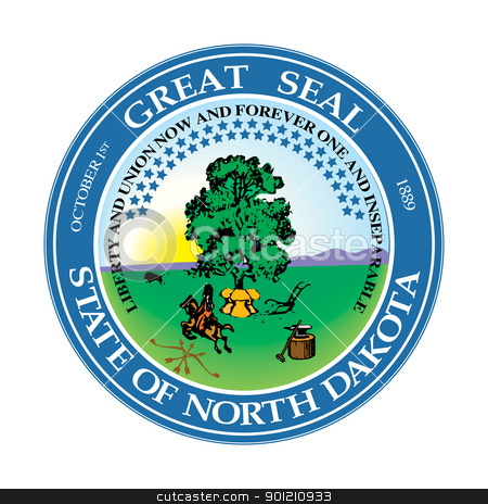 North Dakota state seal stock photo, Seal of American state of North Dakota; isolated on whiite background. by Martin Crowdy