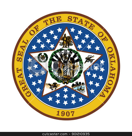 Oaklahoma state seal stock photo, Seal of American state of Oaklahoma; isolated on whiite background. by Martin Crowdy