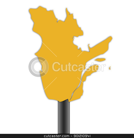 Quebec map road sign stock photo, Quebec province in Canada map and sign background. by Martin Crowdy