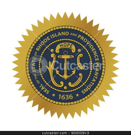 Rhode Island state seal stock photo, Seal of American state of Rhode Island; isolated on whiite background. by Martin Crowdy