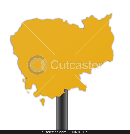 Cambodia map road sign stock photo, Cambodia map road sign isolated on a white background. by Martin Crowdy