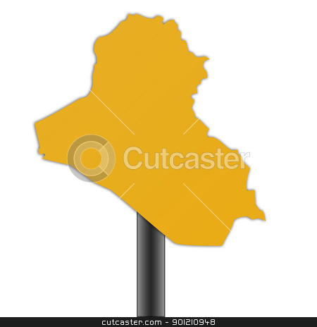 Iraq map road sign stock photo, Iraq map road sign isolated on a white background. by Martin Crowdy