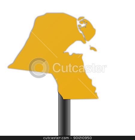 Kuwait map road sign stock photo, Kuwait map road sign isolated on a white background. by Martin Crowdy