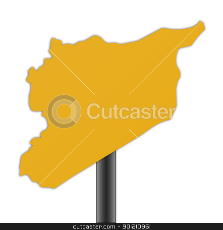 Syria map road sign stock photo, Syria map road sign isolated on a white background. by Martin Crowdy