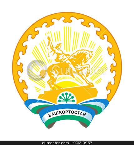 Bashkortostan coat of arms stock photo, Russian federation state of Bashkortostan coat of arms or seal; isolated on white background. by Martin Crowdy