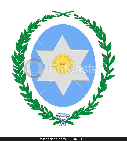 Salta province coat of arms stock photo, Coat of arms of province of Salta in Argentina; isolated on white background. by Martin Crowdy