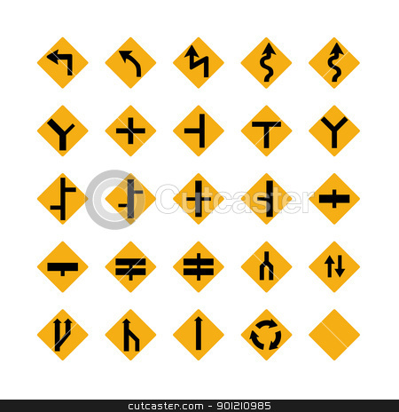 Traffic signs stock photo, Illustrated set of amber traffic signs; isolated on white background by Martin Crowdy