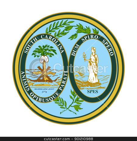 South Carolina state seal stock photo, Seal of American state of South Carolina; isolated on whiite background. by Martin Crowdy
