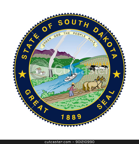 South Dakota state seal stock photo, Seal of American state of South Dakota; isolated on whiite background. by Martin Crowdy