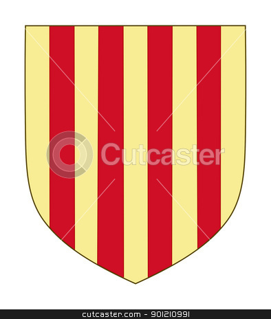 Spanish province of Aragon coat of arms stock photo, Spanish province of Aragon coat of arms; isolated on white background. by Martin Crowdy