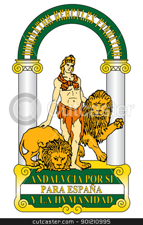 Spanish Andalusia coat of arms stock photo, Spanish province of Andalusia coat of arms; isolated on white background. by Martin Crowdy