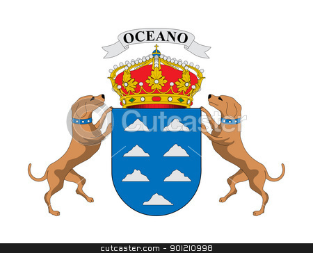 Spanish_Canary_Islands_coat_of_arms stock photo, Spanish province of Canary Islands coat of arms; isolated on white background. by Martin Crowdy
