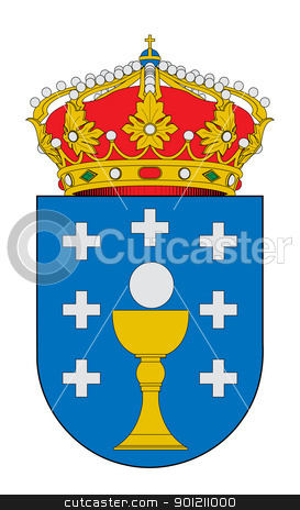 Spanish Galicia coat of arms stock photo, Spanish province of Galicia coat of arms; isolated on white background. by Martin Crowdy
