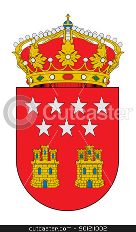 Community of Madrid coat of arms stock photo, Spanish province of Community of Madrid coat of arms; isolated on white background. by Martin Crowdy