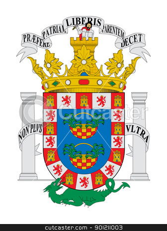 Spanish state of Melilla coat of arms stock photo, Spanish province of Melilla coat of arms; isolated on white background. by Martin Crowdy