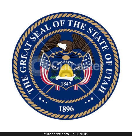 Utah state seal stock photo, Seal of American state of Utah; isolated on whiite background. by Martin Crowdy