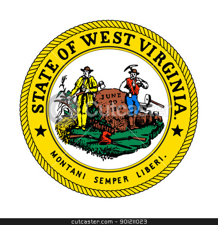 West Virginia State Seal stock photo, Seal of American state of West Virginia; isolated on whiite background. by Martin Crowdy