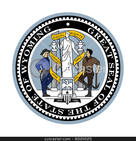 Wyoming state seal stock photo, Seal of American state of Wyoming; isolated on whiite background. by Martin Crowdy