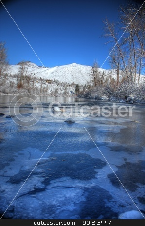 Winter snow with a blue sky stock photo, Winter snow with a blue sky by Jeremy Baumann