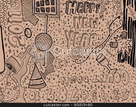 Happy new year hand drawn doodles stock photo, Happy new year hand drawn doodles by Jeremy Baumann