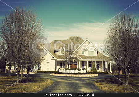 Luxury suburban house stock photo, Luxury suburban house seen spring time by Henryk Sadura