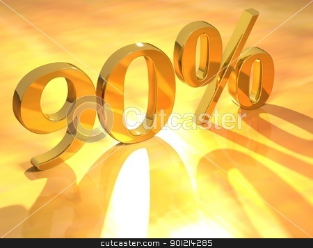 Percent % stock photo, 3D Percent text % on gold background by Mariusz Prusaczyk