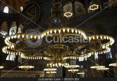 Chandeliers at Haggia Sophia Istanbul stock photo, June 2011 brass gold chandeliers and arabic motif Istanbul Turkey, crop area, copy space by Kantilal Patel