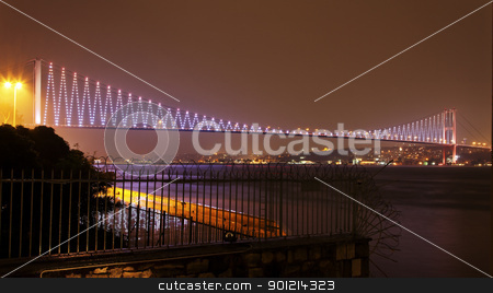 Night sky over Bosphorus, Istanbul stock photo, Bogazici Kpr, bridge over Bosphorus, Istanbul that links Europe to Asia, crop area, copy space by Kantilal Patel