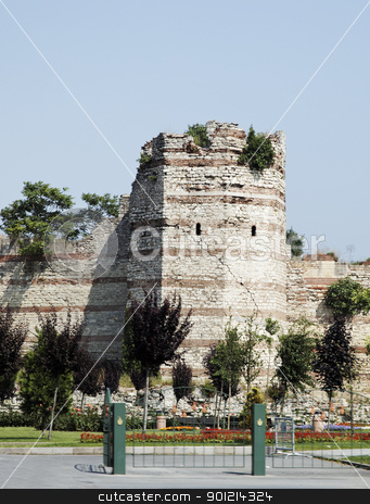 Tower wall of Constantinople stock photo, Istanbaul, Turkey, one of the remain towers still standing at the the wall of Constantinople, crop area, copy space by Kantilal Patel