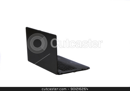 Laptop stock photo, A black laptop isolated on white background by Arvind Balaraman