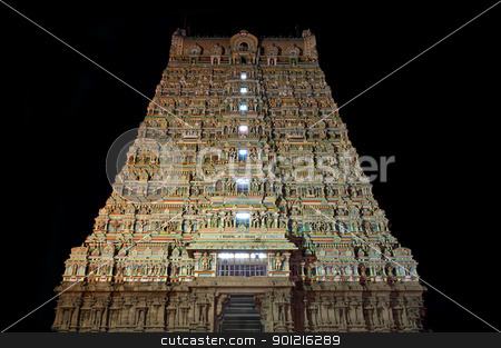 Hindu Temple stock photo, Tall Gopuram of Tenkasi Shiva Temple in Tamilnadu by Arvind Balaraman