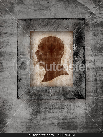 man face in frame stock photo, drawing of a man face in old-fashioned silhouette style in a frame on grunge background by lubavnel