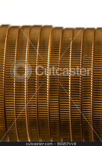 Edge view of stack of golden coins stock photo, Gold Eagle one ounce coins in a stack and isolated against white by Steven Heap