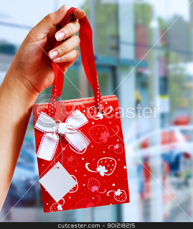 A Gift Wrapped Bag Being Held Up stock photo, A Gift Wrapped Bag Being Held Up Outside A Shopping Mall by stuartmiles