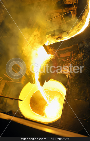 pouring molten steel  stock photo, pouring molten steel  by jordachelr