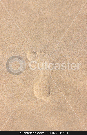 trace of a child's foot on the sand of the beach stock photo, trace of a child's foot on the sand of the beach by Chretien