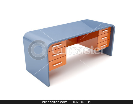 Desk stock photo, Minimalistic designed desk - 3d image by Mile Atanasov