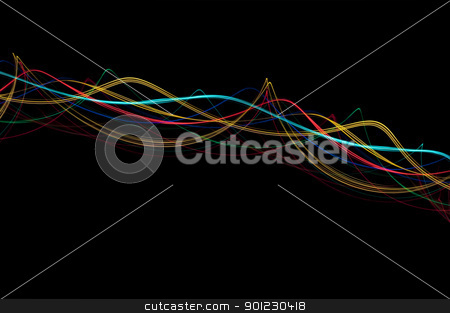 light waves stock photo, abstract background of colourful glowing light waves on black by Stephen Gibson