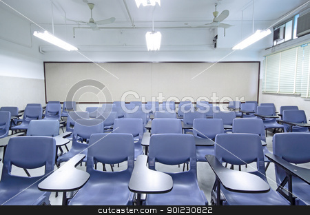 empty classroom stock photo, empty classroom with chair and board by Keng po Leung