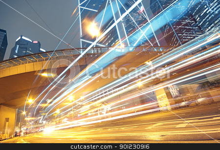 night traffic lights stock photo, night traffic lights by Keng po Leung