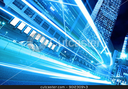 Urban landscape at night and through the city's traffic  stock photo, Urban landscape at night and through the city's traffic  by Keng po Leung
