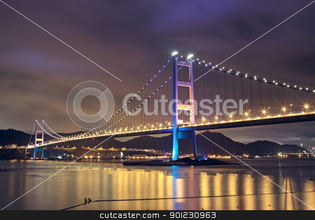 Tsing Ma Bridge in Hong Kong at night stock photo, Tsing Ma Bridge in Hong Kong at night by Keng po Leung
