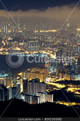 city night stock photo, modern city at night, hong kong by Keng po Leung