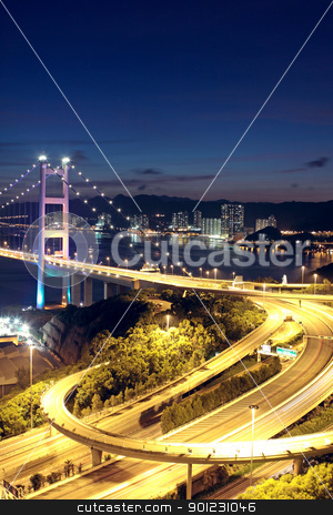 highway bridge at night  stock photo, highway bridge at night in hong kong by Keng po Leung