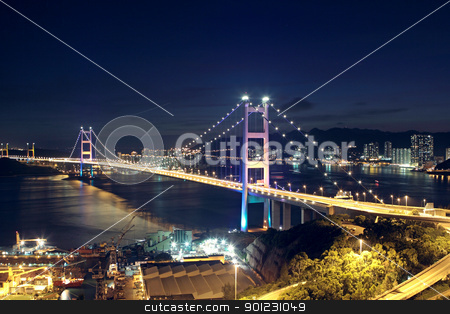 traffic highway bridge at night stock photo, traffic highway bridge at night,hong kong by Keng po Leung